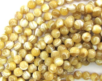 "7mm natural mother of pearl mop round beads 15.5"" strand 30125"