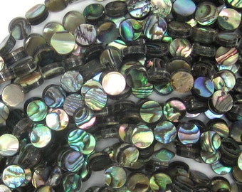 """6mm abalone shell coin beads 16"""" strand 32793"""