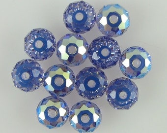 12 6mm Swarovski crystal rondelle 5040 Tanzanite AB