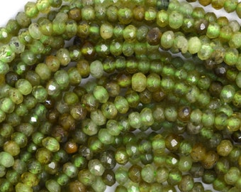 "3mm faceted green garnet rondelle beads 16"" strand"