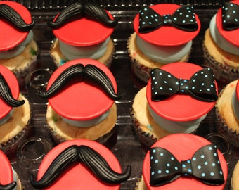 Mustache and Bow Tie Cupcake Toppers