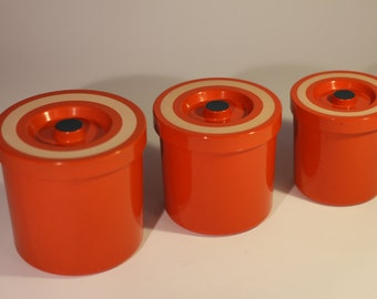 3 Vintage plastic canisters  containers kitchenware inventory 1970s 1960s storage cans 70s 60s retro mid century kitchen