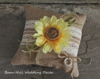 Ring Bearer Pillow, Wedding Ring Pillow, Sunflower, Yellow, Rustic, Country