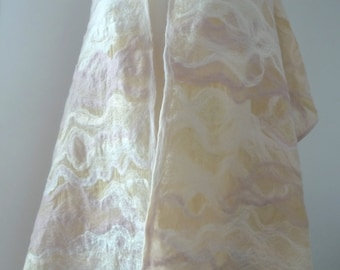 Nuno felted bridal/wedding shawl/wrap in merino wool and silk fibre on 100% silk.
