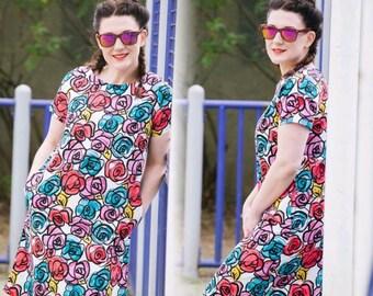 Floral shift dress, summer dress, flower dress, midi length dress, shift dress, cotton dress, every day wear, weekend wear, SS16,