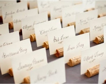 Wine Cork Place Card Holders- Wine Wedding, Vineyard Wedding, Escort Card Holders, Bridal Shower, Upcycled Wine Corks, Wedding Favors