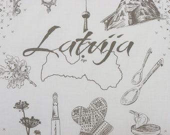 SALE + UPDATE( we adding more cities) Tea towel with symbols of Riga, Latvia