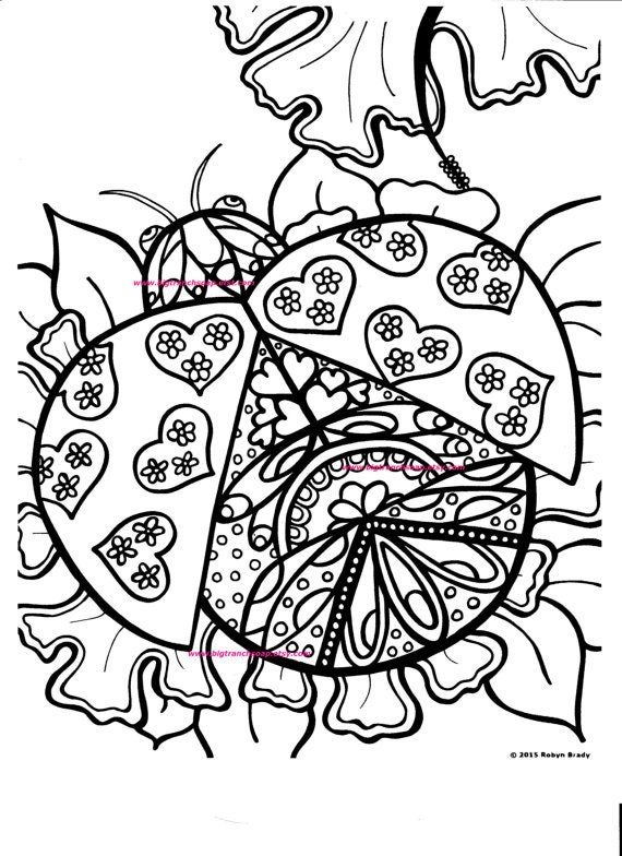 Adult coloring page ladybug hand drawn image digital for Coloring pages of ladybugs