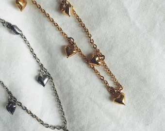 Silver and Gold heart charm bracelets