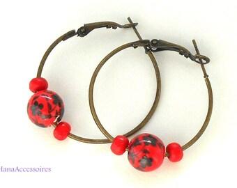 Hoop black red bronze * flowers * porcelain HolzOhrringe