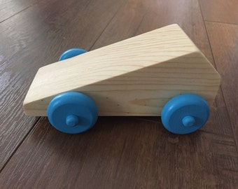 Geometric Shape Wooden Car with Blue Wheels