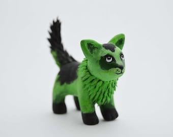 OOAK Handmade Polymer Clay Fantasy Green Cat Sculpture