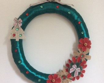 Christmas ribbon wreath, holiday wreath, fabric wreath, wreath with flowers, buttons and  beads.