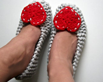 Knitted Slippers, Womens Slippers, Ballet Flats, Red Heart Slippers, Gray and Red, House Shoes, Cozy Shoes, Chunky Knit, Gift for Women,