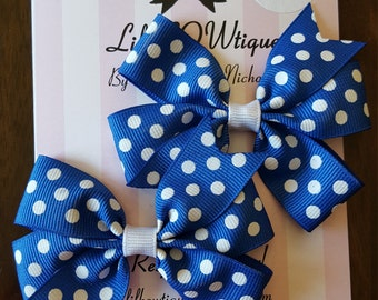 Pair of mini pinwheel bows polka dot