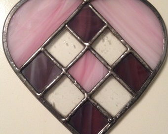 Pink and Purple Stained Glass Heart