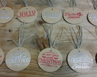 Red and Silver Embossed Christmas Gift Tags - set of 10