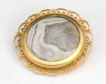 Gold Geode Brooch,Polished Stone Brooch,Ladies Brooch,Wedding Brooch         J449