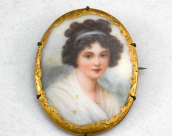 Victorian Porcelain Portrait Brooch / Pin, Portrait Brooch,Antique Portrait Brooch          J601