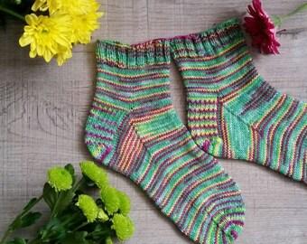 Unique handknitted merino wool socks, handknit socks, ooak luxury socks