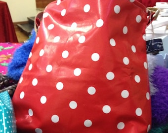 Crossover Bag Polka Dot pattern in red or green with white dots
