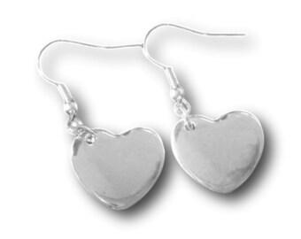 Heart Drop Silver Earrings