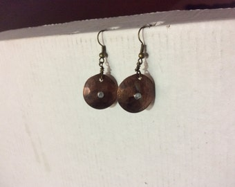 Hand made rustic copper earrings