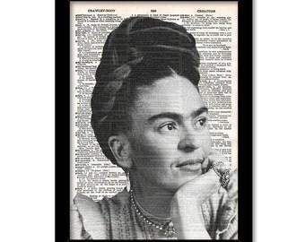 Frida Kahlo Print, BW Mexican Folk Illustration Antique Dictionary Page, Frida Kahlo Portrait