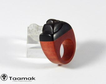 Precious made hand Piece unique Taamak ring ebony and Ivory Pink-ring for woman-art-wood ring