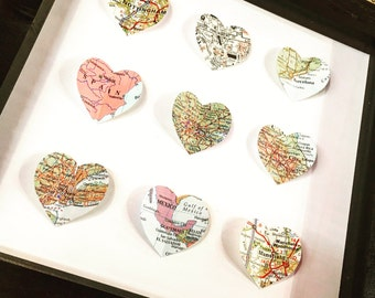 9 Map Heart Framed Picture- Personalised Map- Favourite places- We Met- Anniversary gift