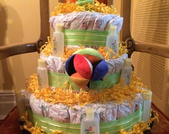 Green and Yellow Neutral Diaper Cake