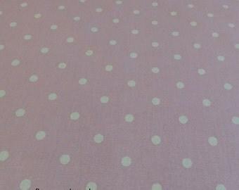 White Polka dot Spot on Light Pink Fabric