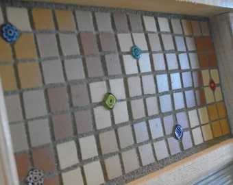 Mosaic Antique Washboard in Geometric Earth Tones