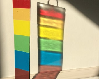 Large Rainbow Sun-catcher hand crafted and kiln fused glass