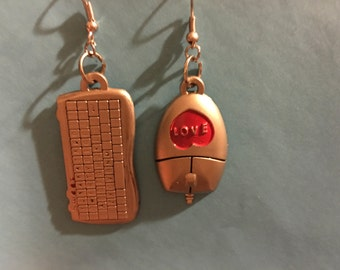 Mouse and computer keyboard Earrings   F7