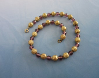Amethyst and Gold Tone Beaded Necklace