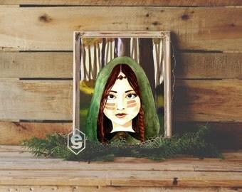"Young Marian, Maid Marian and Robin Hood Saga. 8x10"" Instant download printable wall art. Watercolour/Watercolor painting digital Art."
