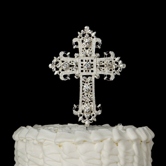cross cake topper cross cake topper silver religious christian wedding 3193
