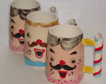 Vintage Hand Painted GC Fine Ceramic Japan Whistle Mugs