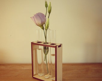 Test tube and Timber Bud Vase - 3 test tubes