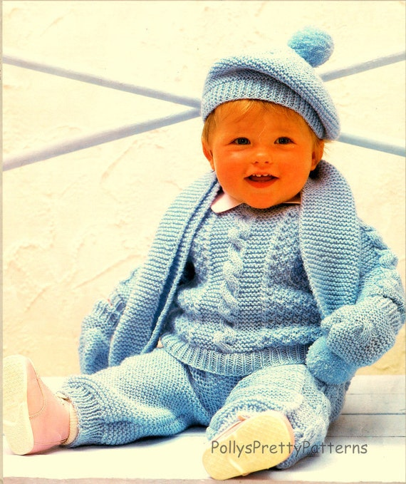 PDF Knitting Pattern for a Cute Baby Pram Suit Set Pullover