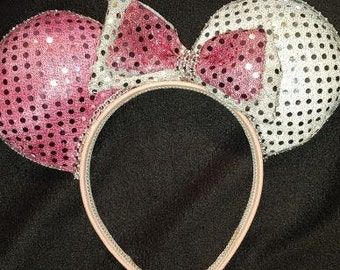 Pink and Silver Disney Inspired Ears
