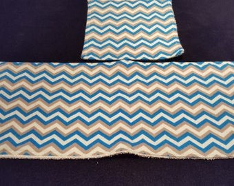 Blue/Gray/White Chevron Burp and Wash Cloth Set With Terrycloth Backing