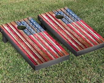 United States US Flag Distressed Cornhole Game Set