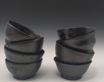 Black Stoneware Bowls set of 8