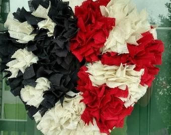 Burlap heart shaped patriotic wreath