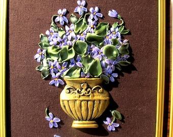 Ribbon embroidered violets.  Violets on brown. Wall hanging with violets. Violets in a vase. Spring flowers. Violets. Violets wall decor.