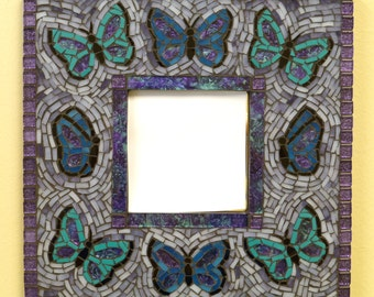 Purple and Blue Butterfly Mosaic Mirror
