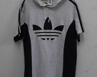 Vintage Adidas treefoil T shirt Hooded  90's Big Logo Hip Hop Rare