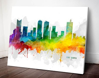 Fort Worth Skyline Canvas, Fort Worth Print, Fort Worth Art, Fort Worth Gift, Fort Worth Cityscape, MMR-USTXFW05C